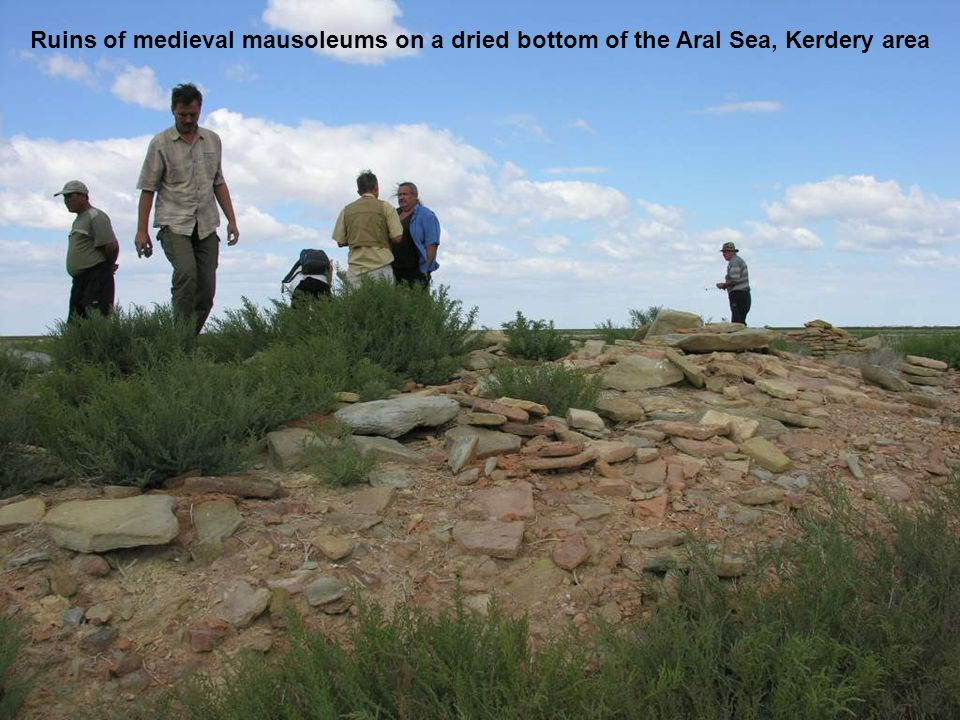 Ruins of medieval mausoleums on a dried bottom of the Aral Sea, Kerdery area