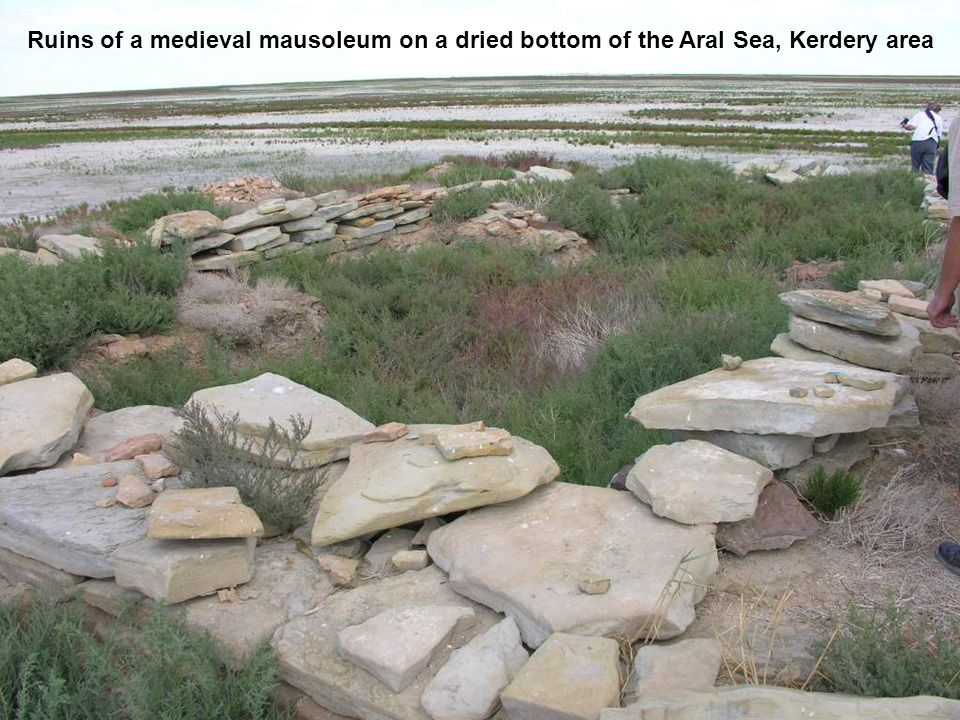 Ruins of a medieval mausoleum on a dried bottom of the Aral Sea, Kerdery area