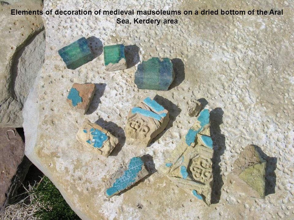Elements of decoration of medieval mausoleums on a dried bottom of the Aral Sea, Kerdery area