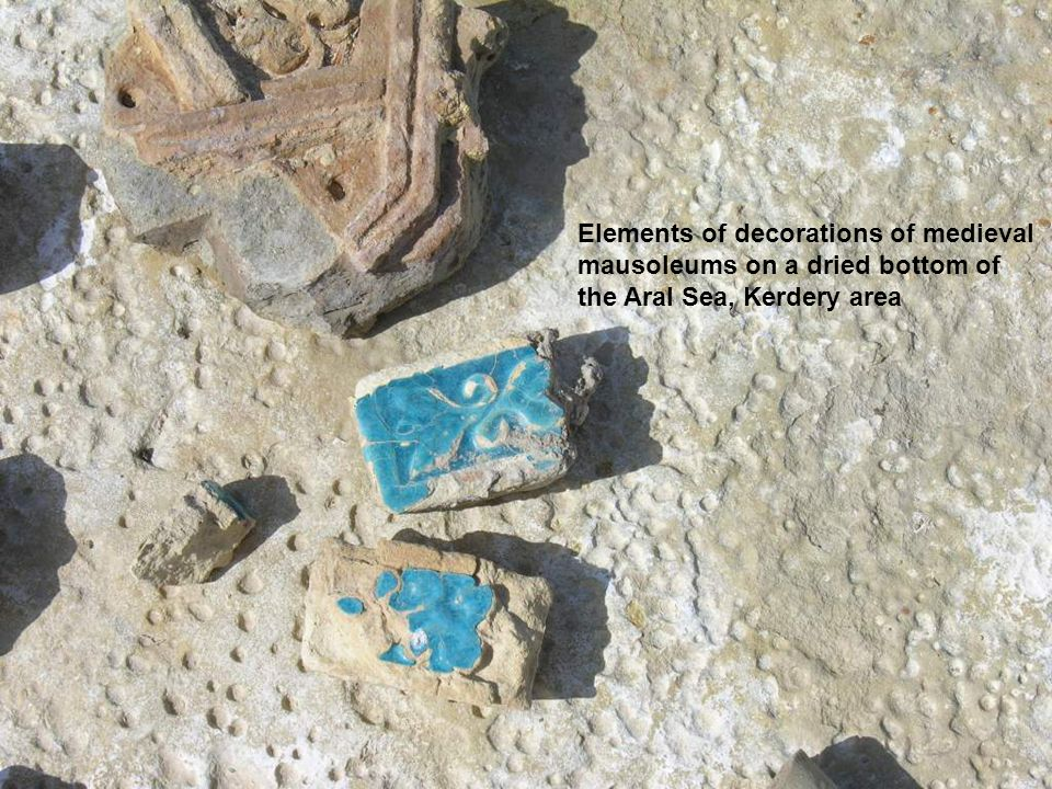 Elements of decorations of medieval mausoleums on a dried bottom of the Aral Sea, Kerdery area