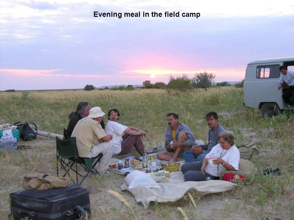 Evening meal in the field camp