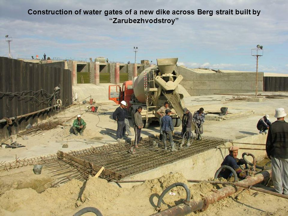 Construction of water gates of a new dike across Berg strait built by Zarubezhvodstroy