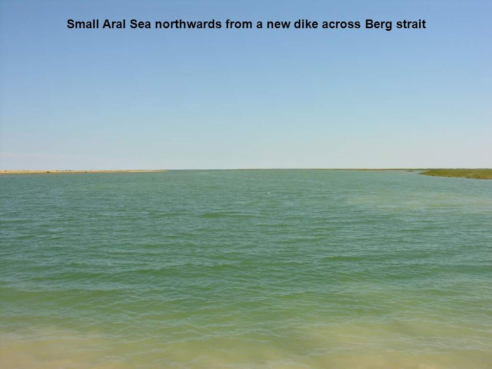 Small Aral Sea northwards from a new dike across Berg strait