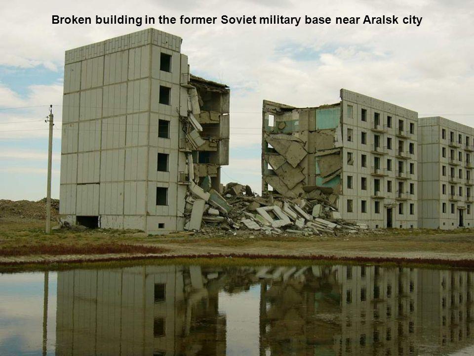 Broken building in the former Soviet military base near Aralsk city
