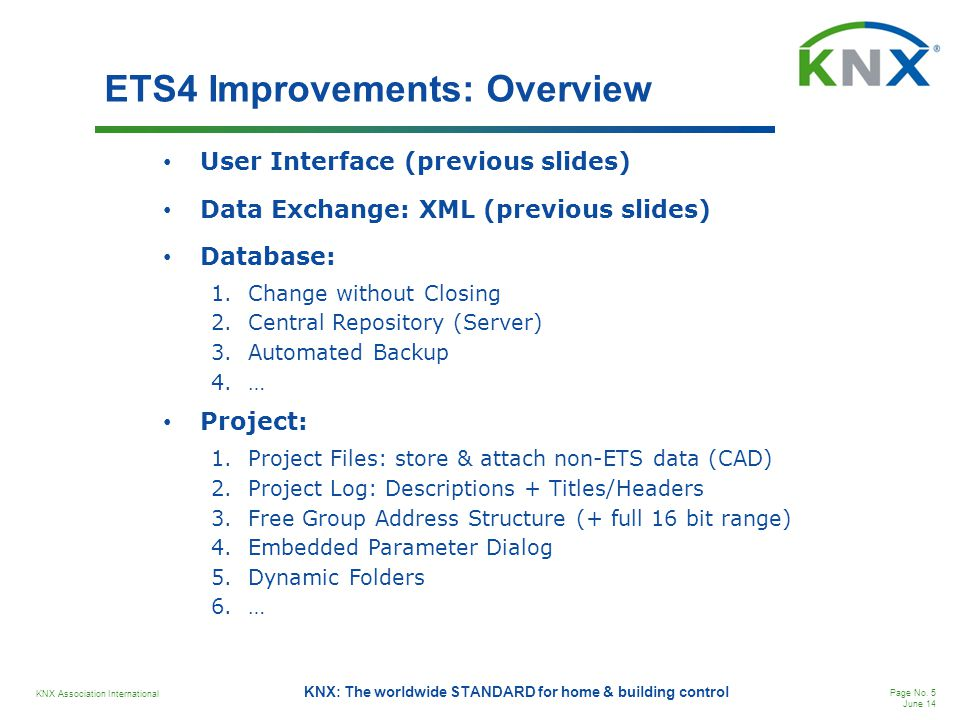 ETS4 Improvements: Overview