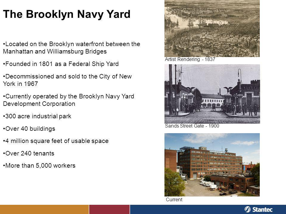 The Brooklyn Navy Yard Located on the Brooklyn waterfront between the Manhattan and Williamsburg Bridges.