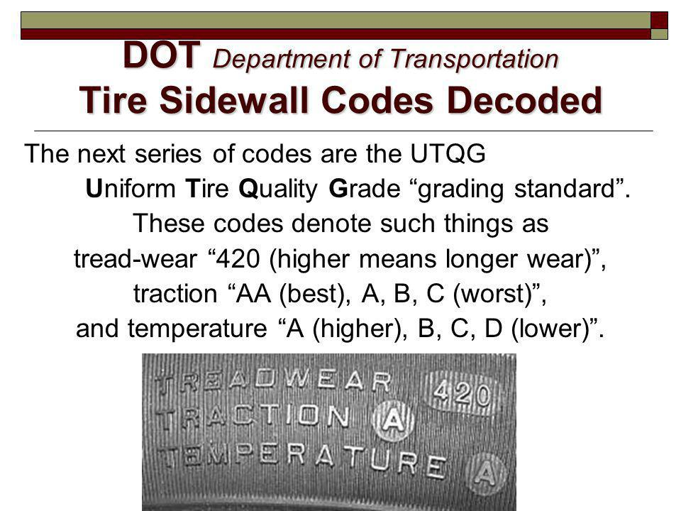 DOT Department of Transportation Tire Sidewall Codes Decoded