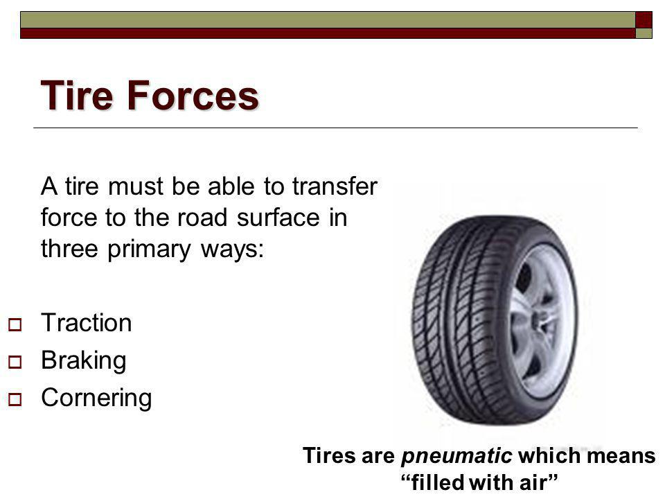 Tires are pneumatic which means