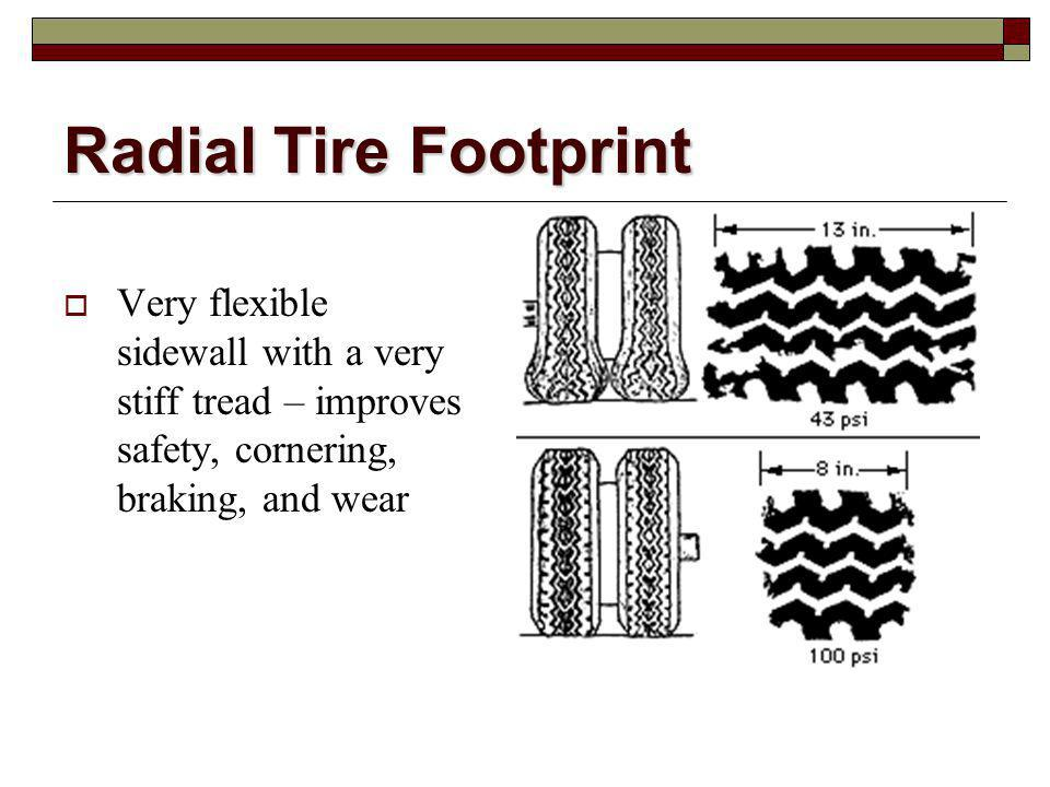 Radial Tire Footprint Very flexible sidewall with a very stiff tread – improves safety, cornering, braking, and wear.