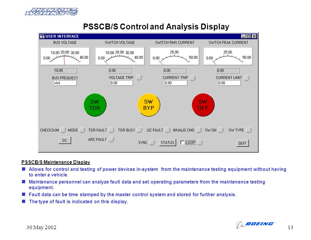 PSSCB/S Control and Analysis Display