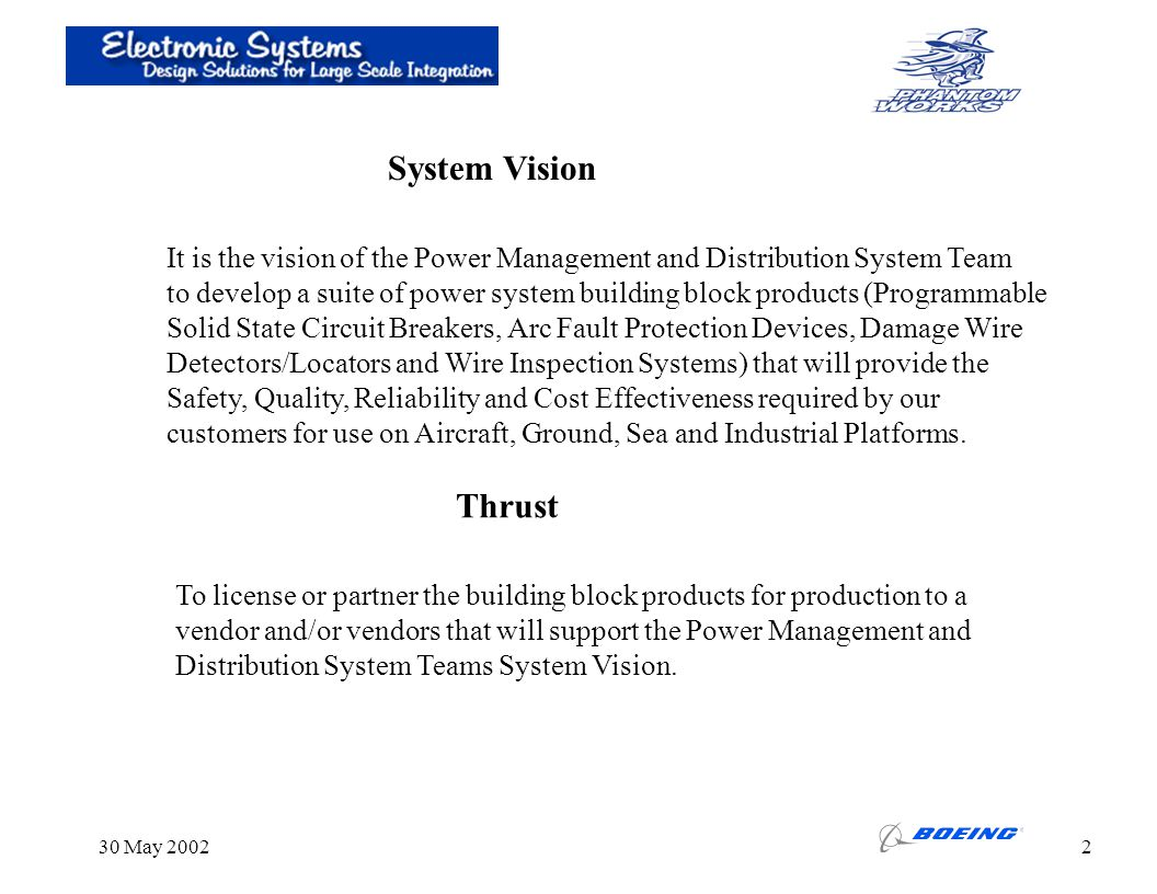 System Vision It is the vision of the Power Management and Distribution System Team.
