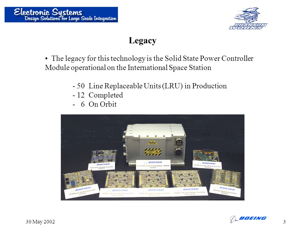 Legacy The legacy for this technology is the Solid State Power Controller. Module operational on the International Space Station.