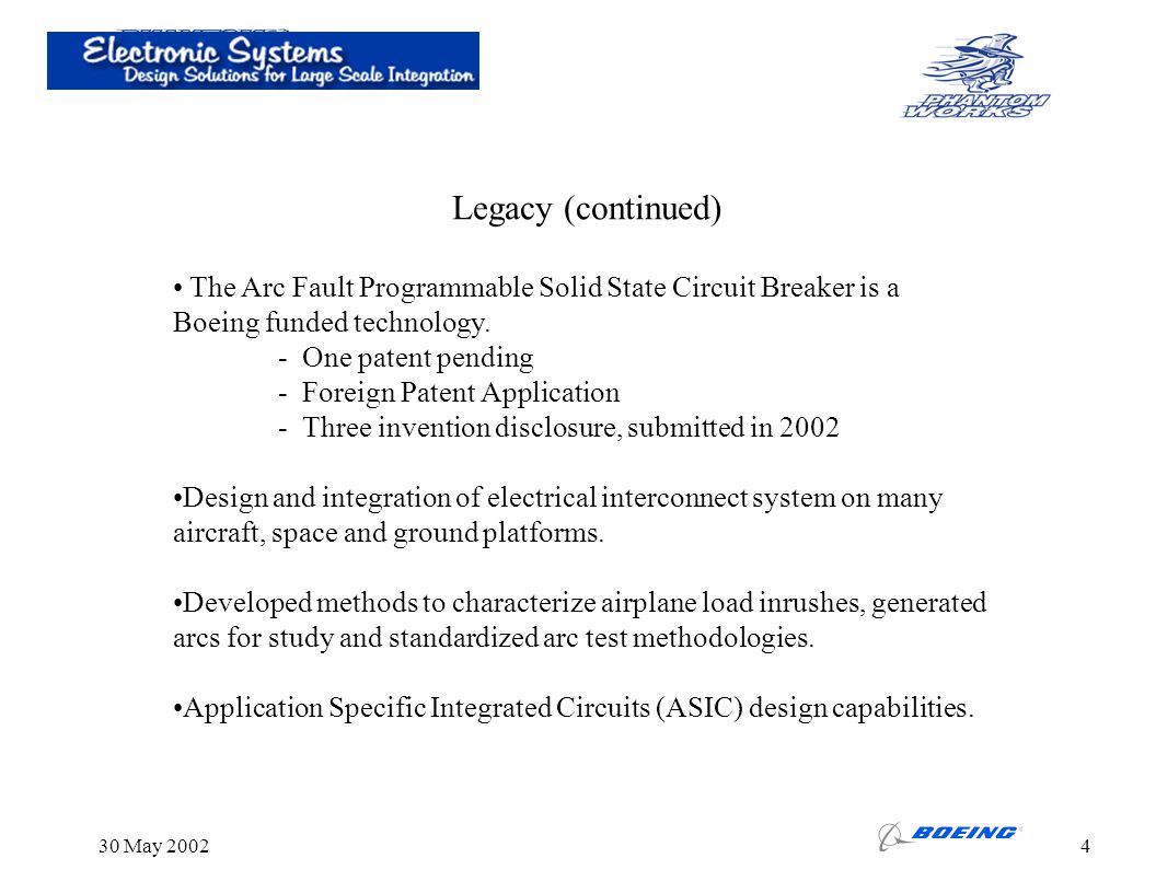 Legacy (continued) The Arc Fault Programmable Solid State Circuit Breaker is a. Boeing funded technology.