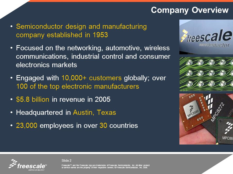 Company Overview Semiconductor design and manufacturing company established in 1953.