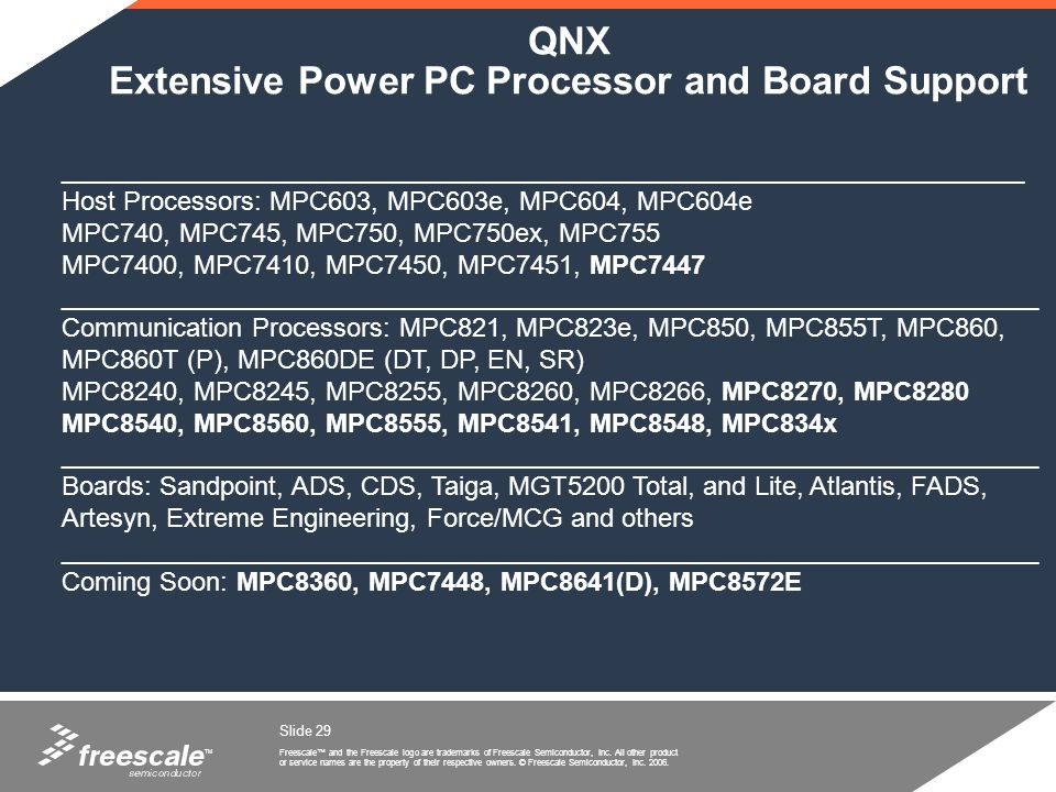 QNX Extensive Power PC Processor and Board Support