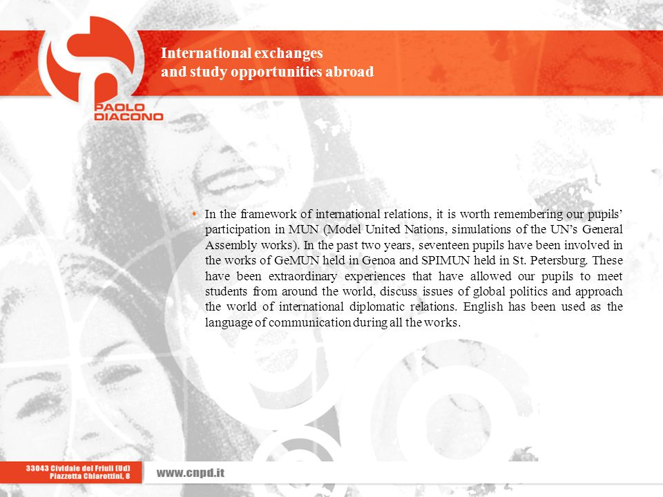 International exchanges and study opportunities abroad