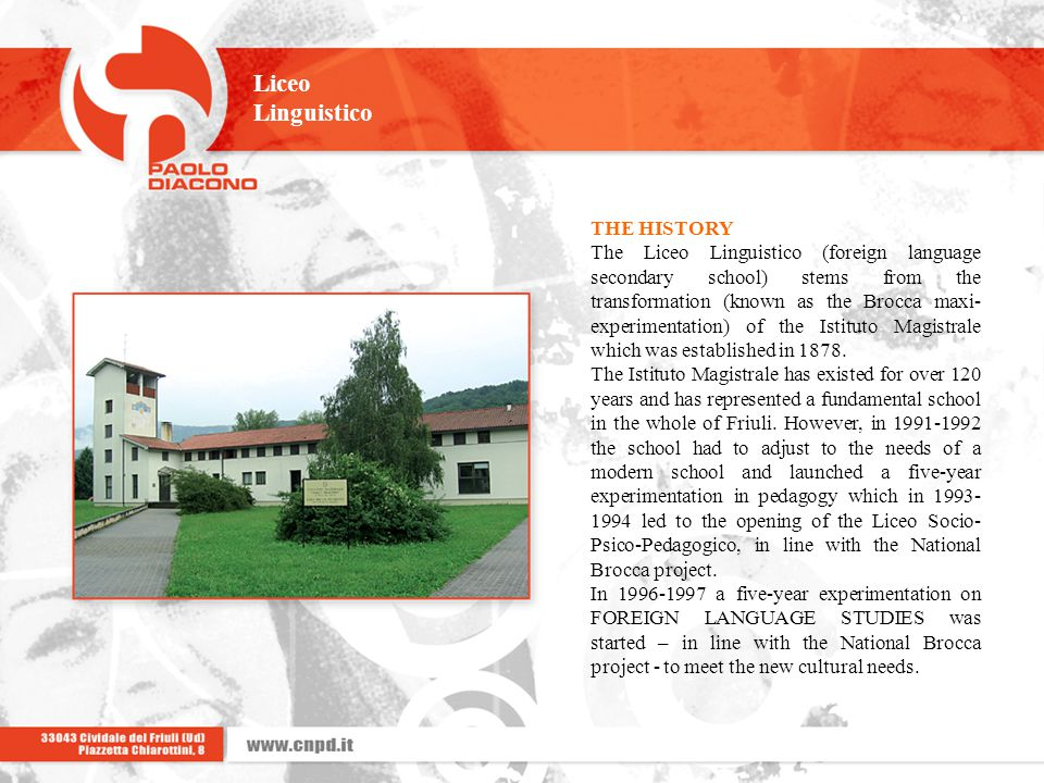 Liceo Linguistico THE HISTORY