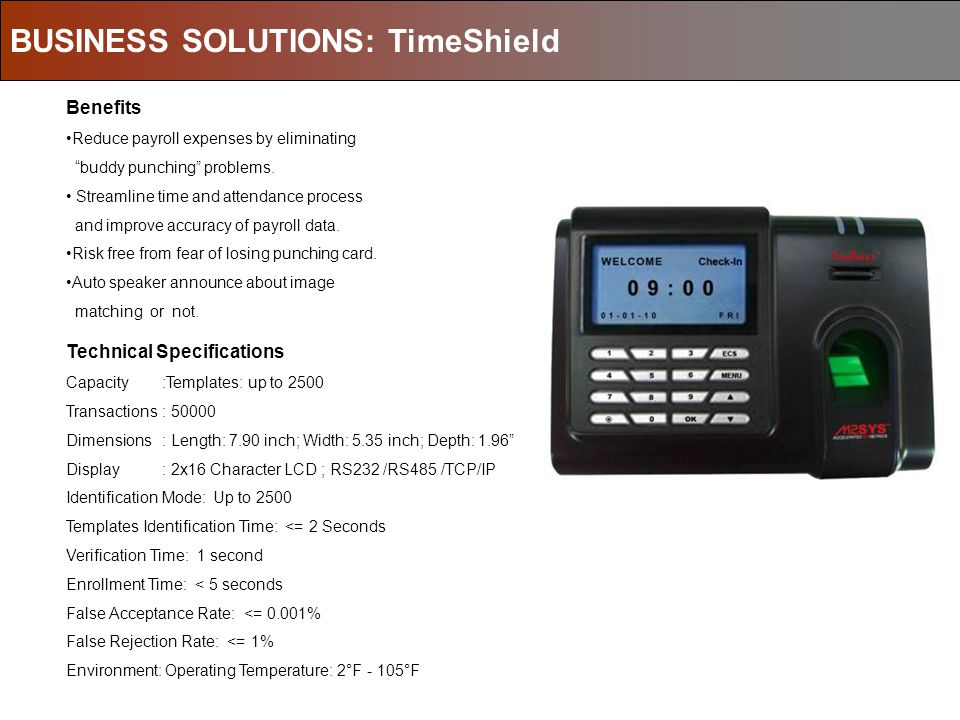 BUSINESS SOLUTIONS: TimeShield