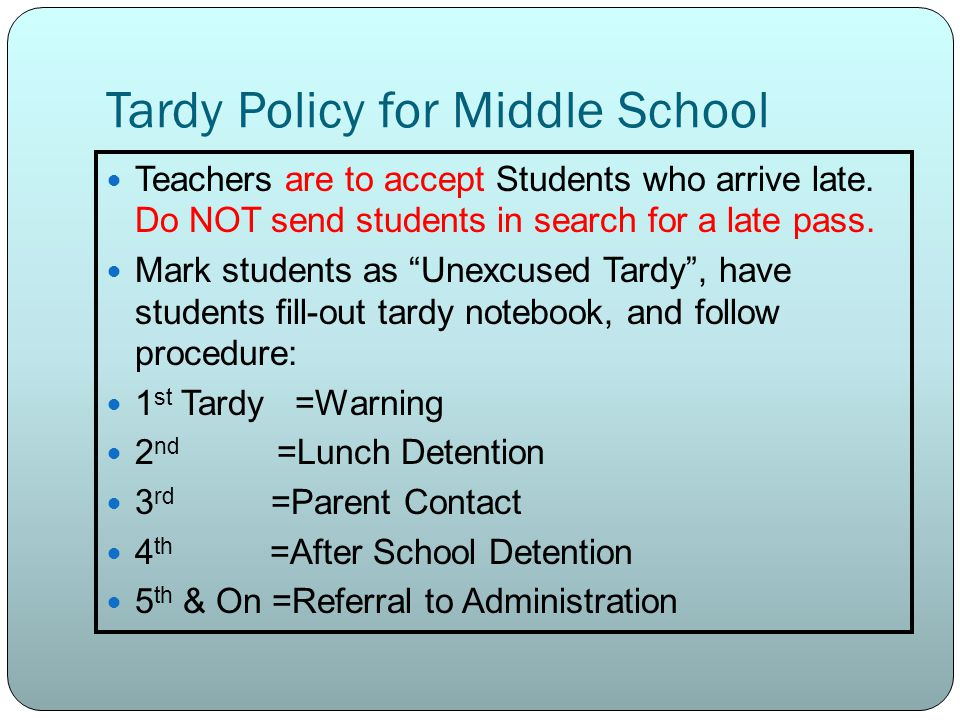 Tardy Policy for Middle School