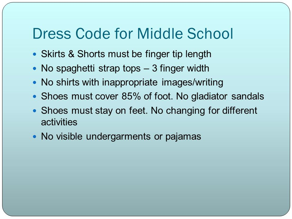 Dress Code for Middle School