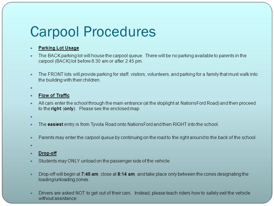 Carpool Procedures Parking Lot Usage