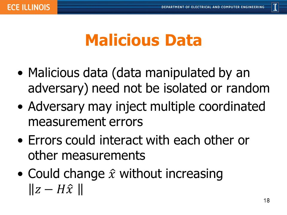 Malicious Data Malicious data (data manipulated by an adversary) need not be isolated or random.