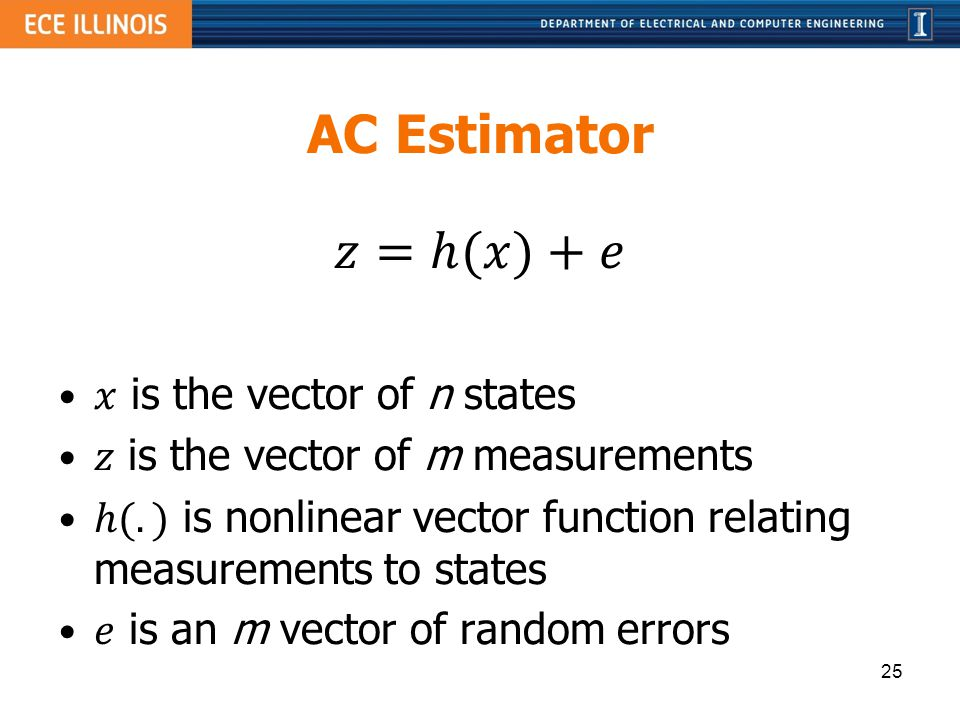 AC Estimator 𝑧=ℎ(𝑥)+𝑒 𝑥 is the vector of n states