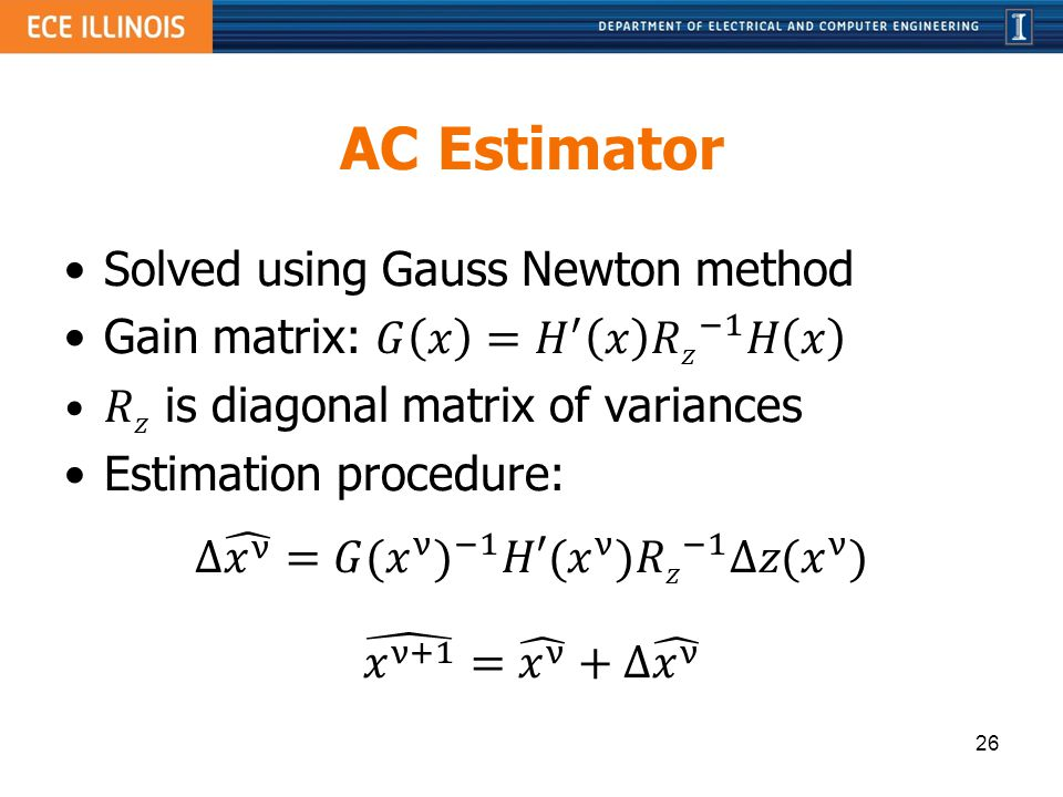 AC Estimator Solved using Gauss Newton method