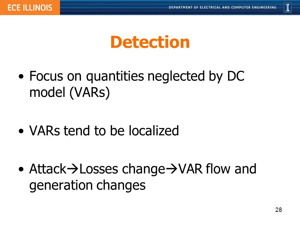 Detection Focus on quantities neglected by DC model (VARs)