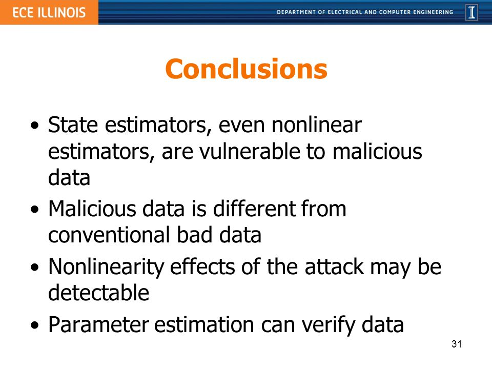 Conclusions State estimators, even nonlinear estimators, are vulnerable to malicious data. Malicious data is different from conventional bad data.