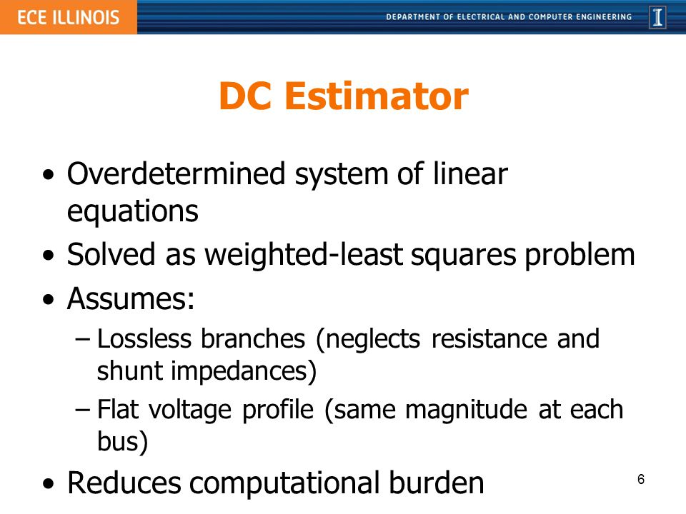 DC Estimator Overdetermined system of linear equations