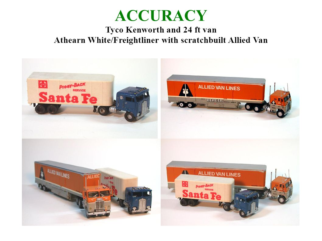ACCURACY Tyco Kenworth and 24 ft van Athearn White/Freightliner with scratchbuilt Allied Van