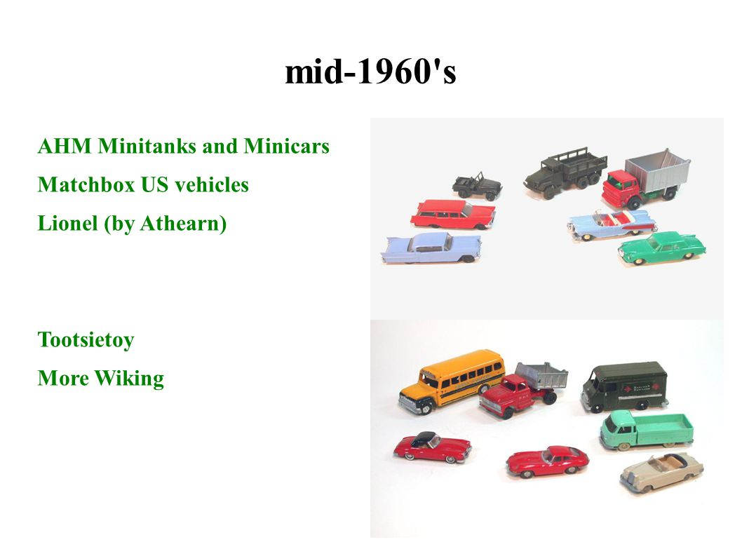 mid-1960 s AHM Minitanks and Minicars Matchbox US vehicles