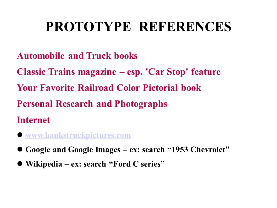 PROTOTYPE REFERENCES Automobile and Truck books