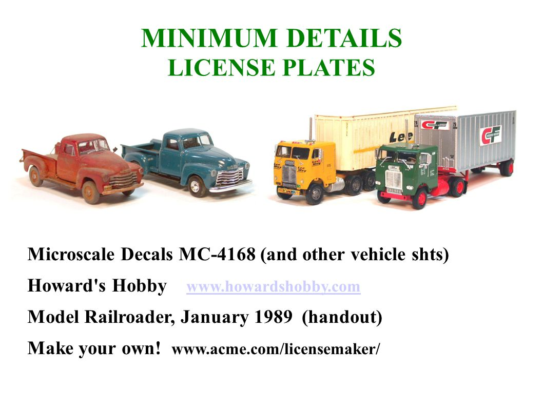 MINIMUM DETAILS LICENSE PLATES