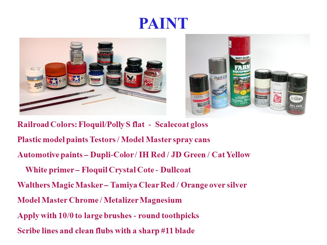 PAINT Railroad Colors: Floquil/Polly S flat - Scalecoat gloss