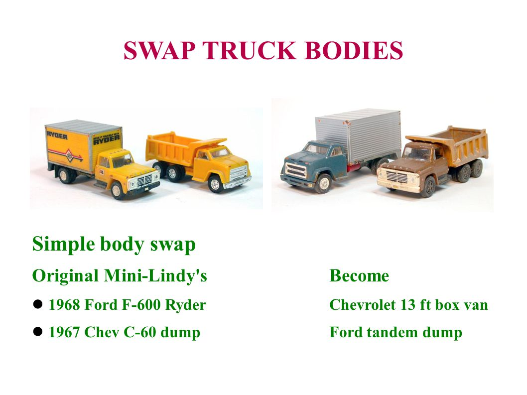 SWAP TRUCK BODIES Simple body swap Original Mini-Lindy s Become