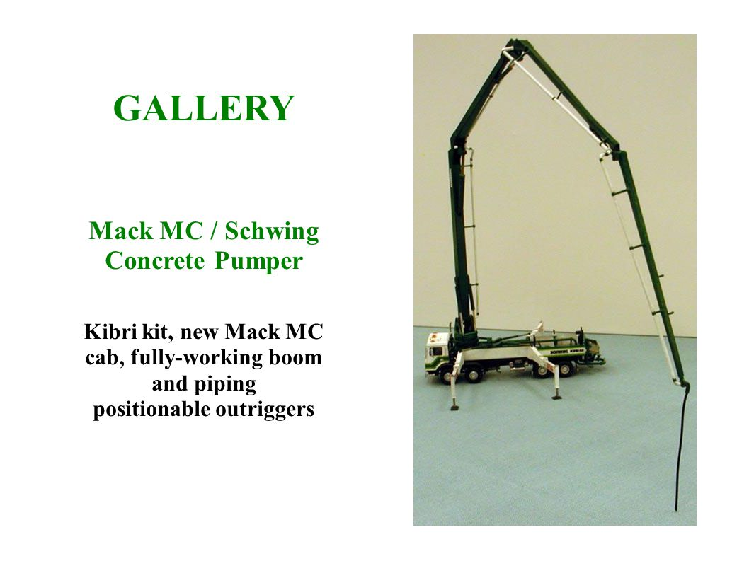 GALLERY Mack MC / Schwing Concrete Pumper Kibri kit, new Mack MC cab, fully-working boom and piping positionable outriggers