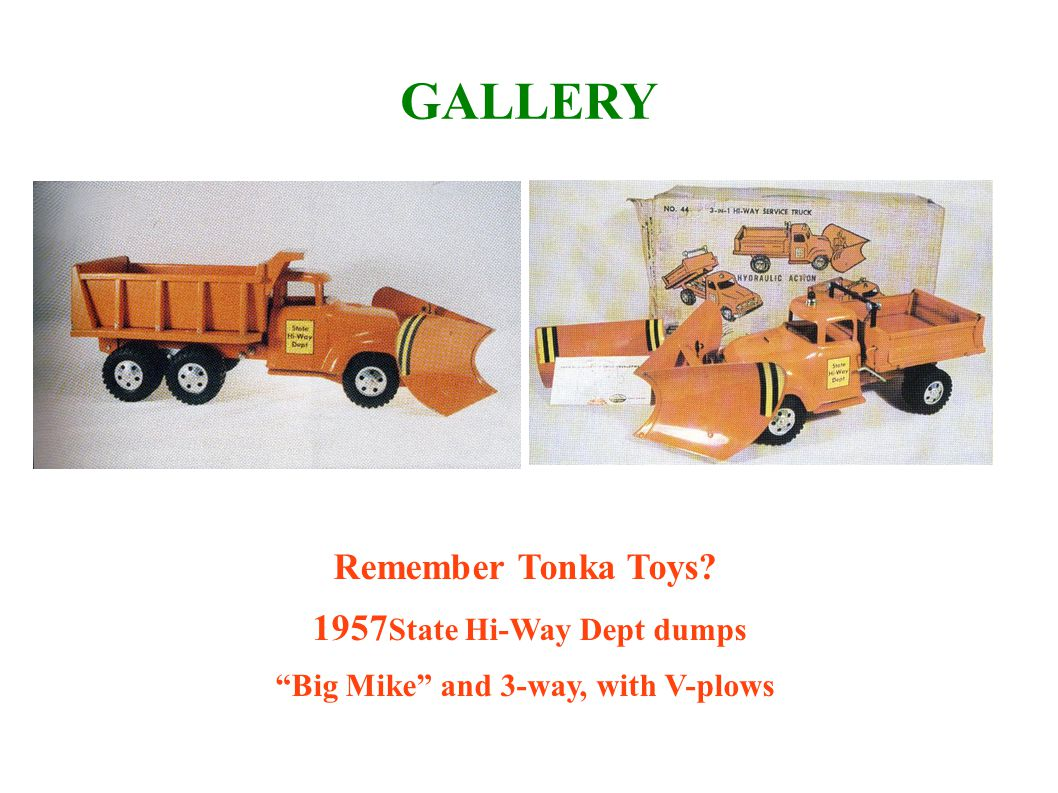 1957State Hi-Way Dept dumps Big Mike and 3-way, with V-plows