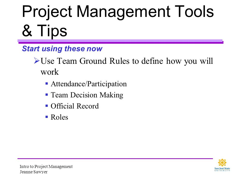 Project Management Tools & Tips