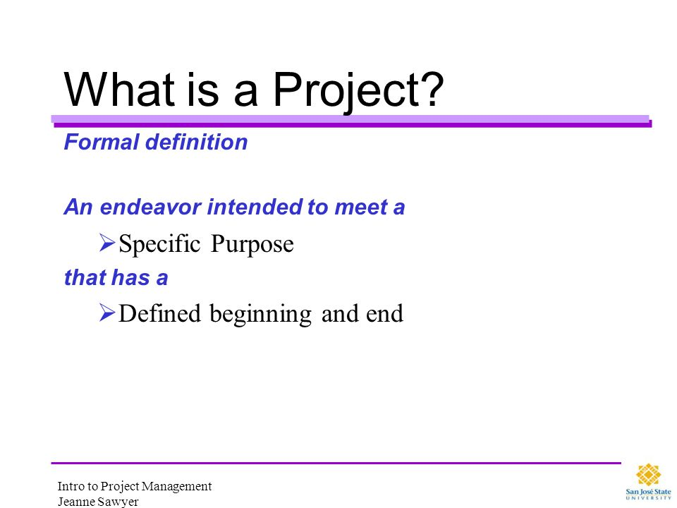 What is a Project Specific Purpose Defined beginning and end