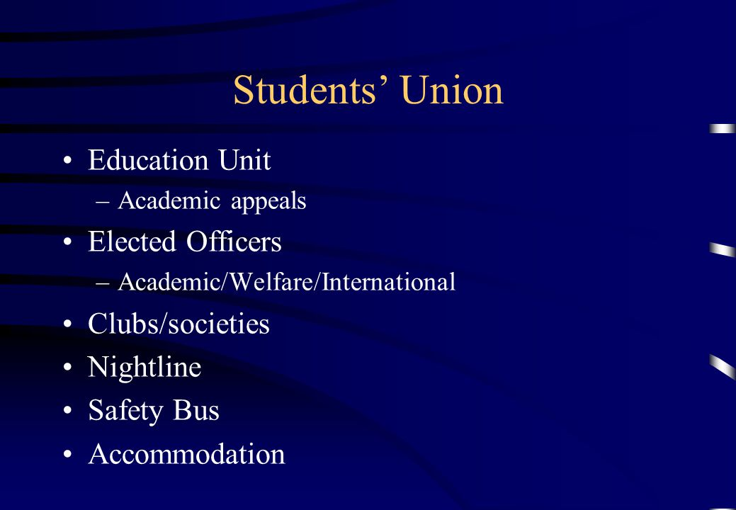 Students' Union Education Unit Elected Officers Clubs/societies