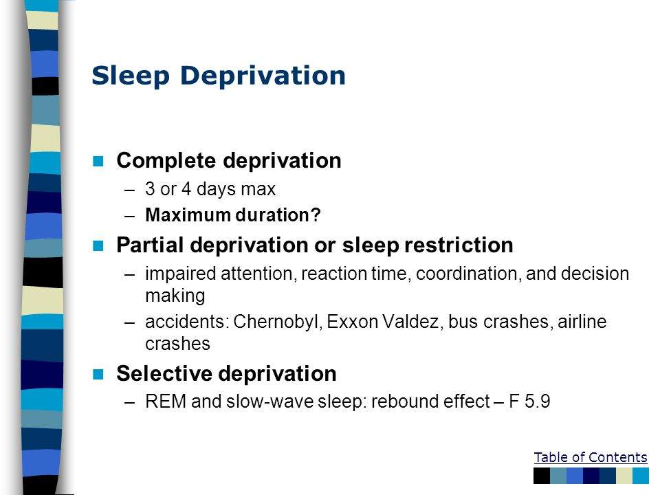 Sleep Deprivation Complete deprivation