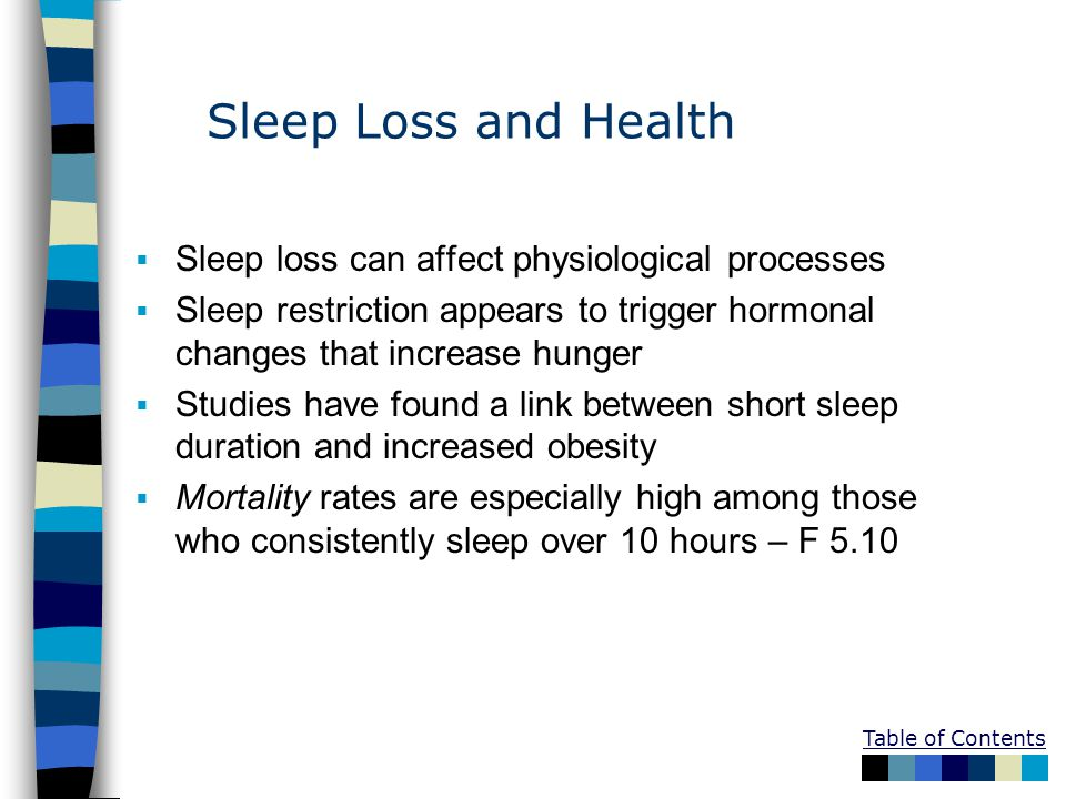 Sleep Loss and Health Sleep loss can affect physiological processes
