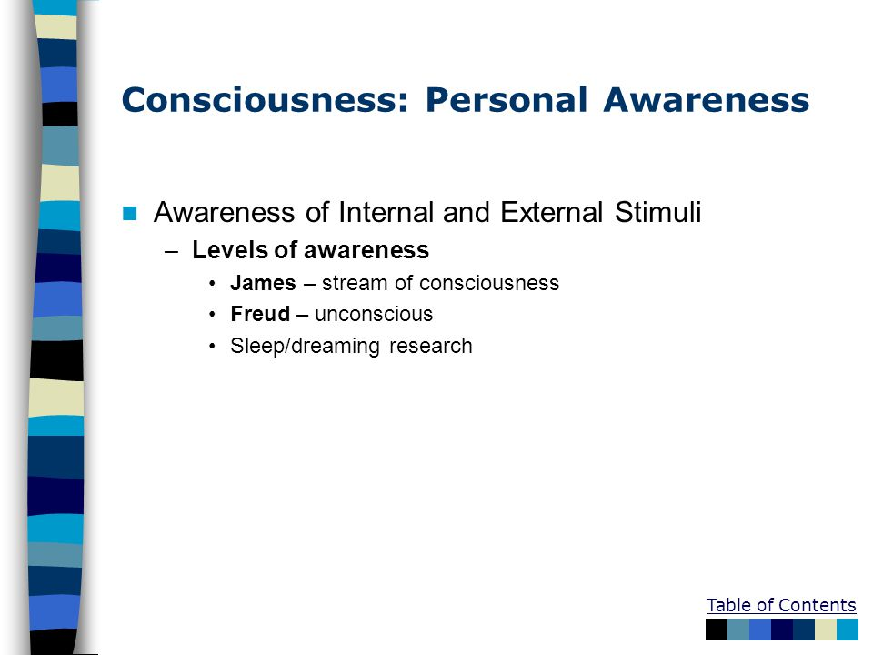 Consciousness: Personal Awareness
