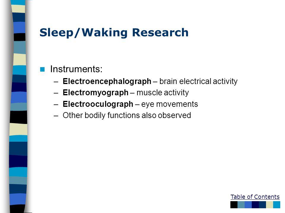 Sleep/Waking Research