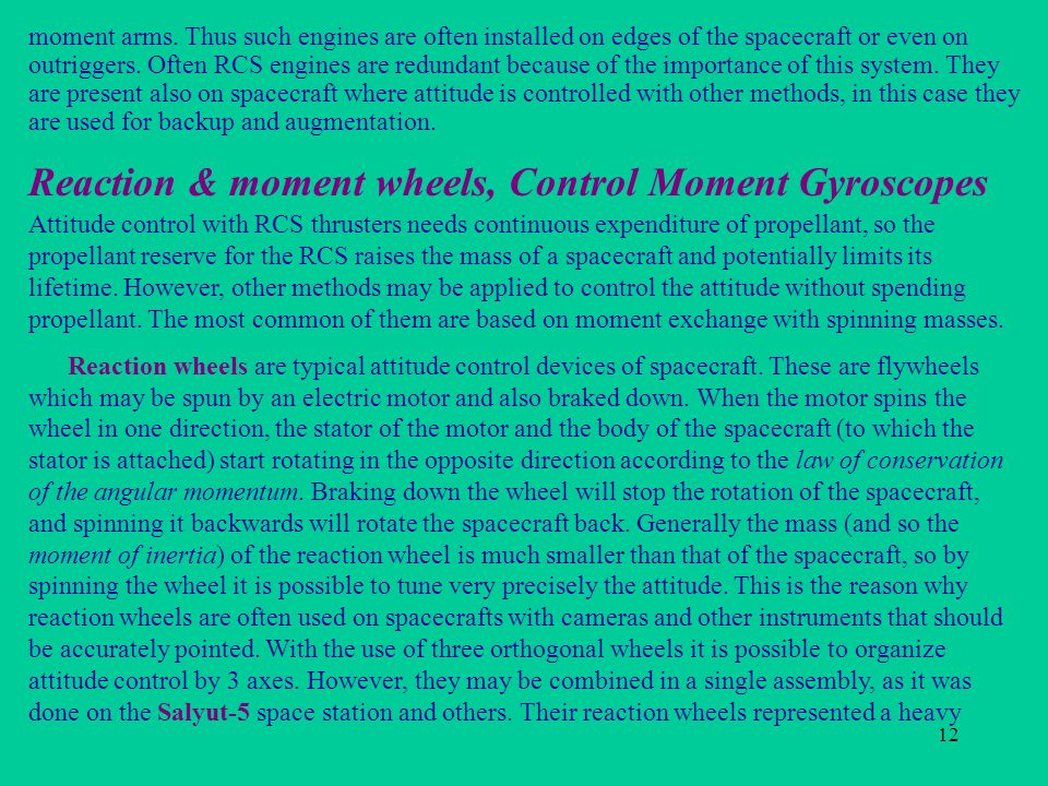 Reaction & moment wheels, Control Moment Gyroscopes