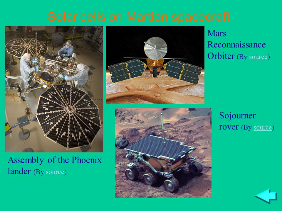 Solar cells on Martian spacecraft