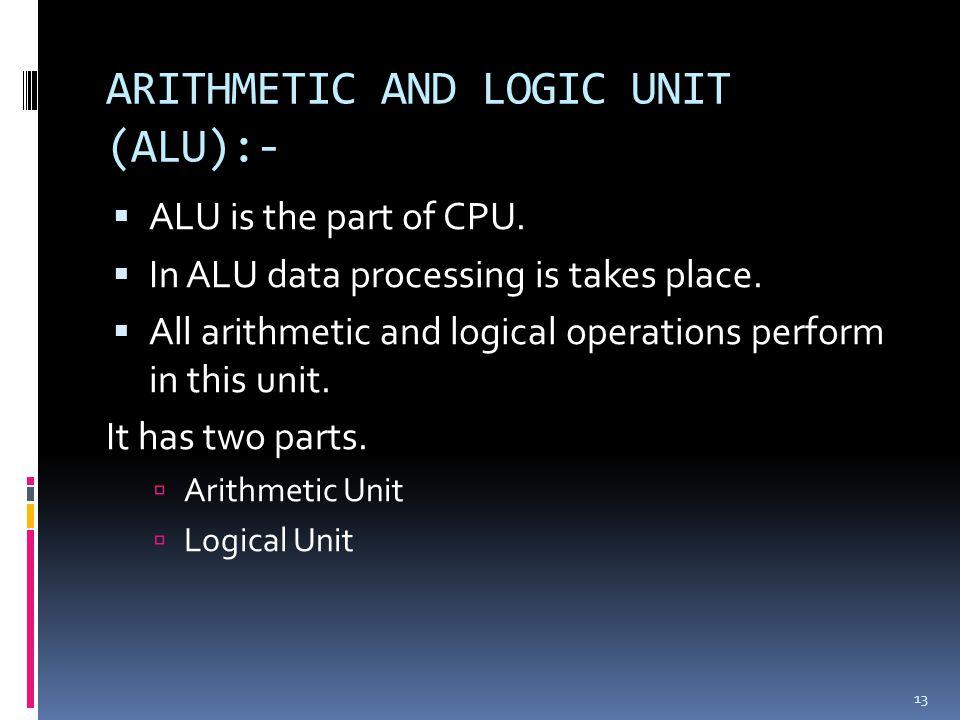 ARITHMETIC AND LOGIC UNIT (ALU):-
