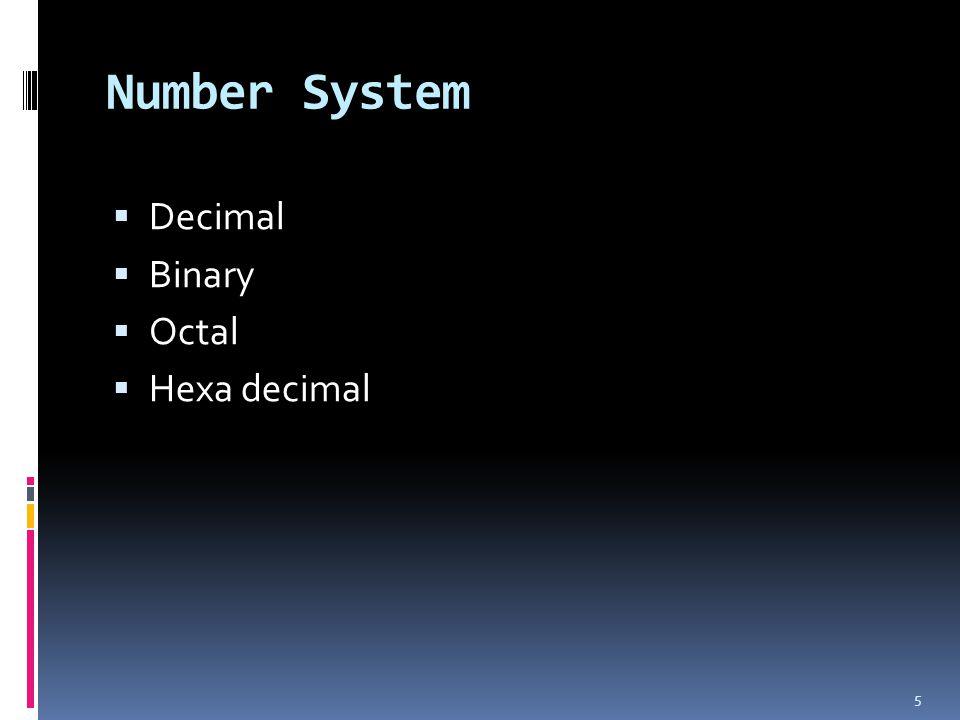 Number System Decimal Binary Octal Hexa decimal